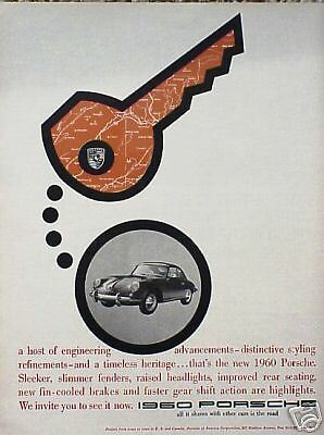 "1960 60 Porsche ""Key"" ORIGINAL Vintage Ad C MY STORE FOR MORE  5+= FREE SHIPPING"