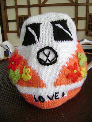 New Hand Knitted Flower Power VW Camper Van Tea Cosy~Large