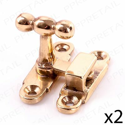 2 x SOLID BRASS CABINET/CUPBOARD SHOWCASE LATCH Thumbturn Show Case Door Lock