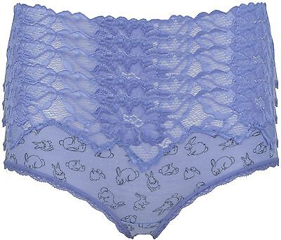 Ex Store 5 Pack of Lace Trimmed Knickers with Print