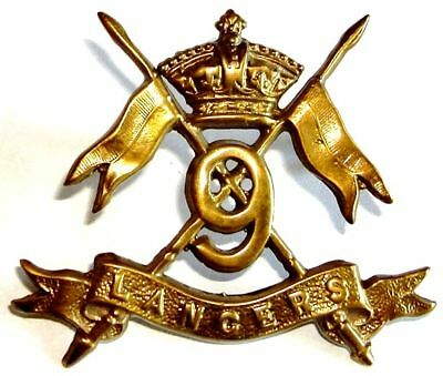 Victorian The 9Th Royal Lancers Cap Badge Brass Metal