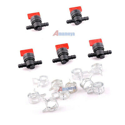 "5x 1/4"" Fuel Line Straight Fit Gas Shut off Valve for KOHLER KAWASAKI Lawnmower"