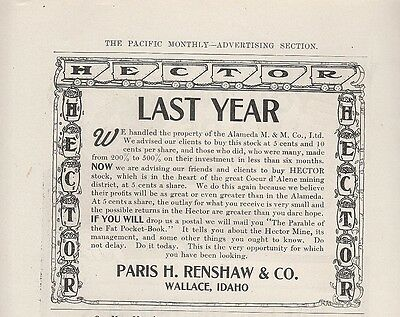 1907 Paris H Renshaw Co Wallace ID Ad Hector Stock Coeur d'Alene Mining District