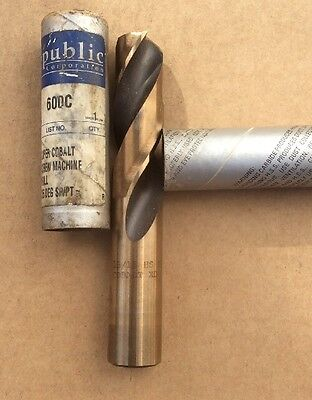 "15/16"" Heavy Duty Cobalt 135° Notched Point Stub Length Drill USA #600C-15/16"