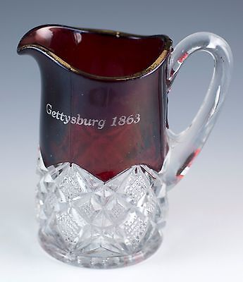 Antique EAPG Glass Ruby Flash Stained Small Pitcher/Creamer Gettysburg, PA 1863