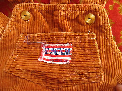 TRUE VTG 60s BOYS Sz 3-4 Corduroy Play OVERALLS JEANS GOLDEN BROWN MADE IN USA