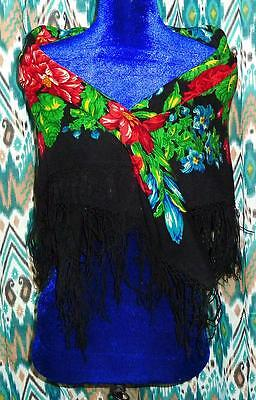 Old Uzbek Russian Shawl Huge Oversized Fall Winter Scarf Folk Hippie A7839