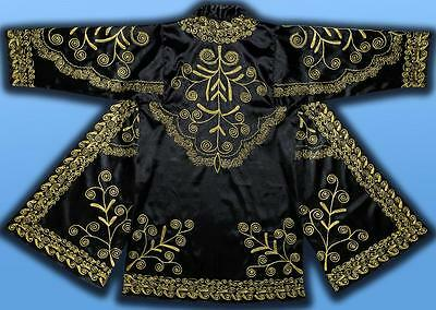 Stunning Uzbek Gold Silk Embroidered Robe Chapan From Bukhara T430
