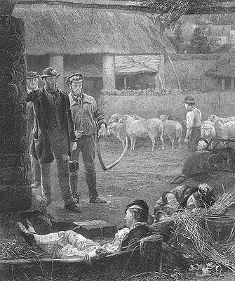 FARM WORKERS LABORERS find HOMLESS FAMILY IN BARN ~ Old 1873 Art Print Engraving