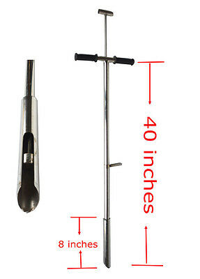 304 Stainless Steel Soil Probe Sampler with Foot Peg Root Tool