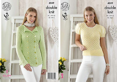 Womens Lace Style Cardigan & Top Double Knitting Pattern King Cole Giza DK 4529
