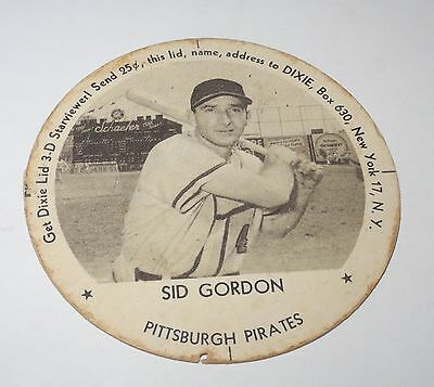 1954 Baseball Dixie Lids/Coin Sid Gordon Pirates Dolly Madison Ice Cream