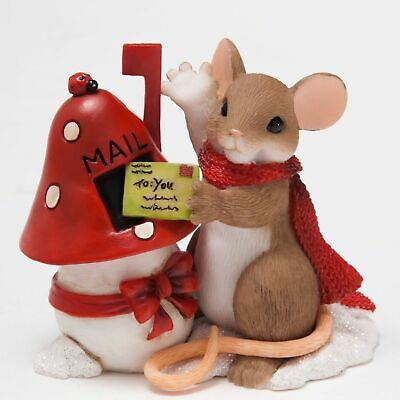 "Charming Tails Mouse Figure 2 5/8"" Christmas Mail Letter Holiday Hi #4046944 NIB"