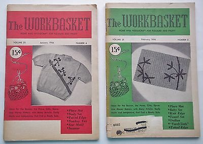 The Workbasket Magazine Lot of 2 Issues January & February 1956 Crafts Recipes