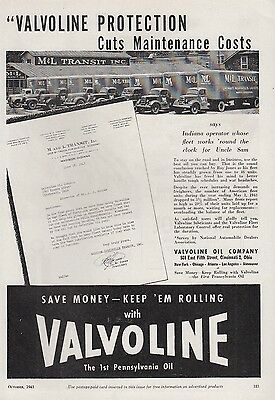 1943 Valvoline Oil Co Cincinnati OH Ad: M & L Transit Inc Madison IN Trucks