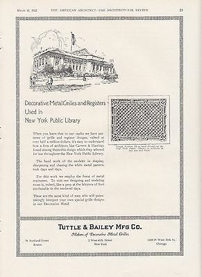 1922 Tuttle & Bailey Mfg Co Grilles & Registers Ad: New York Public Library