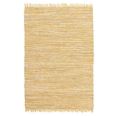 New Bondi Leather and Jute CLASSIC Yellow Rug Network Hand Woven Multi dimension