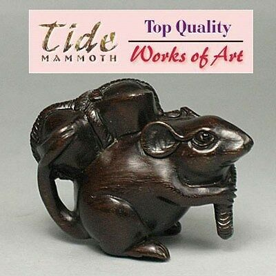 Ebony Iron Wood Netsuke CUTE MOUSE Carving  WN095