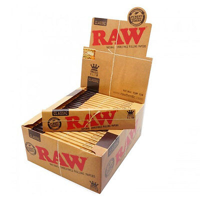 50 RAW CLASSIC 100% Natural Hemp King Size Slim Rolling Papers - FULL BOX