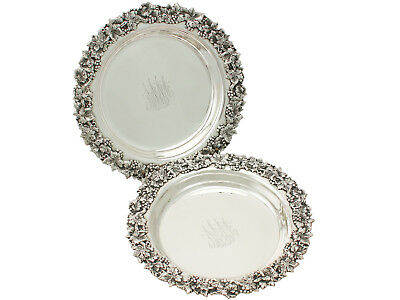 Antique Pair of American Sterling Silver Coasters - Circa 1900