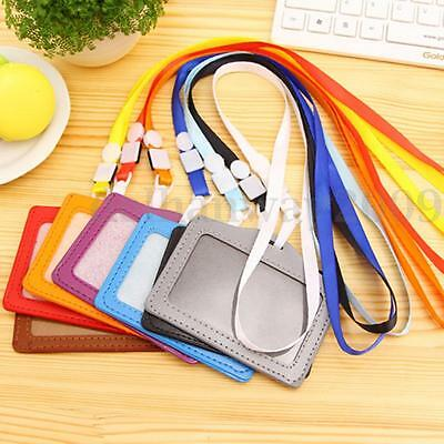 10Pcs PU Leather Pocket ID Card Pass Badge Holders Case With Neck Strap Lanyard