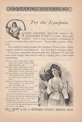 1890 Geo. Frost & Co Boston MA Ad: Annie Jenness Miller Indorses Equipose Waist