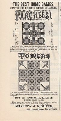 1891 Selchow & Righter New York City Ad: Parcheesi & Towers the Best Home Games