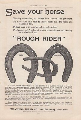 1899 Expanding Thread Inc New York NY Ad: Rough Ride Horseshoes Save Your Horse