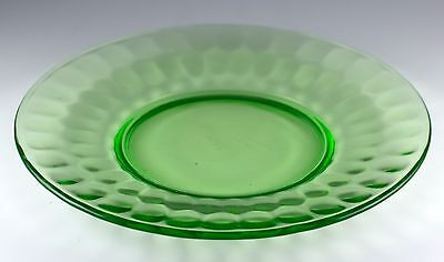 "Vintage Federal Thumbprint Green Depression Glass 8"" Plate Uranium Glows!"