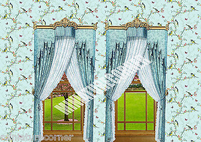 Dolls House Wallpaper Duck egg birds  Curtains 1/12th scale Quality Paper #3242C