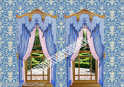 Dolls House Wallpaper Blue stripes Curtains 1/12th scale Quality Paper #196C