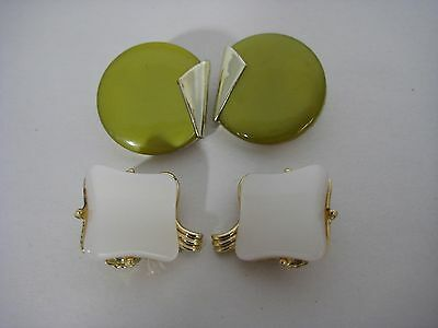 Vintage Lucite Earrings Clip On 1 Green Charel Signed 1 White costume jewelry