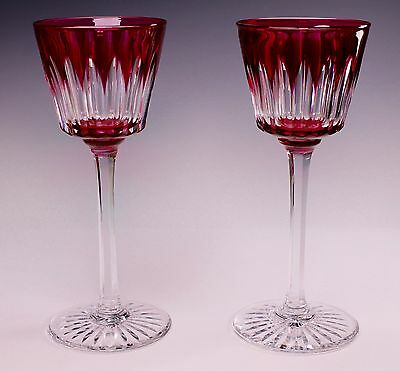 "2 Antique Cut Cranberry to Clear BACCARAT Signed Crystal 7 1/2"" Tall Wine Stems"