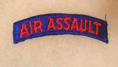 """Short Lived Early Vn War """"air Assault"""" Tab Red On Blue Ce Worn By 11Th Abn Div"""