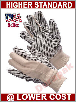 300 Pairs Cotton Canvas Work Gloves w/ PVC Dots Men Size Indoor Outdoor Field