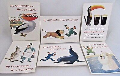 Six My Goodness My Guinness Beer Original Animal And Man Postcards Bt 152