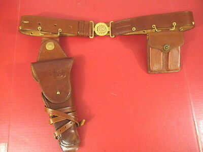 WWI US Army General Officer's Leather Belt Holster & Magazine Pouch Set - Repo