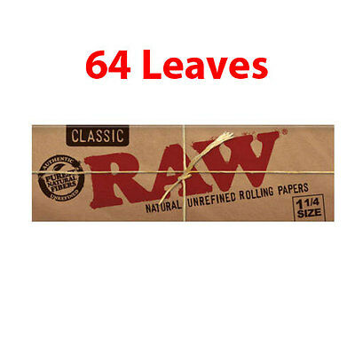 Raw Classic 1 1/4 Regular Size Rolling Paper Smoking Cigarette Tobacco 64 Leaves