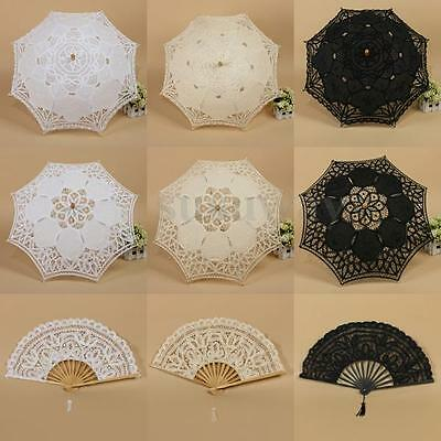 Vintage Handmade Wedding Bridal Parasol Lace Sun Umbrella Folding Hand Fan Set