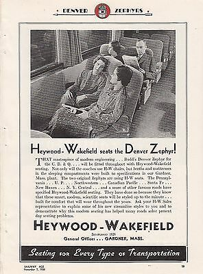 1936 Heywood-Wakefield Chairs Ad: CB&Q Railroad The Denver Zephyr