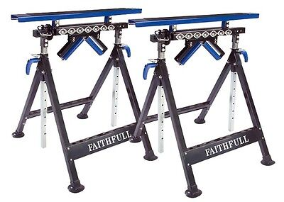 Faithfull FAIWB41 Roller Stand and Trestle 4 in 1 Workmate - Twin Pack