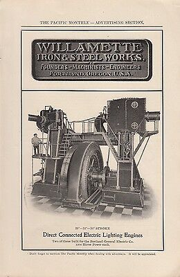1905 Willamette Iron & Steel Works Portland OR Ad: Electric Lighting Engines