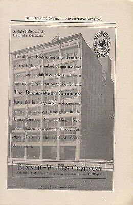 1905 Binner Wells Co Chicago IL Ad Engraving & Printing of the Highest Standards