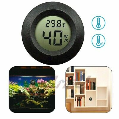 New Digital Cigar Humidor Hygrometer Thermometer Temperature Round Black US