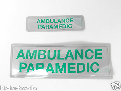 Encapsulated Reflective 'Ambulance Paramedic' Silver/Green Sew On Badge SL15