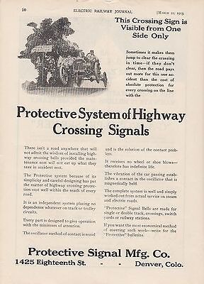 1913 Protective Signal Mfg Co Denver CO Ad: System of Highway Crossing Signals