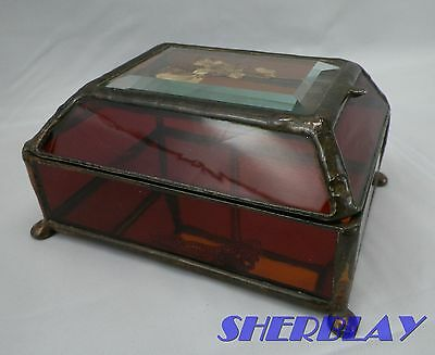 Amber Leaded Stained Glass Hinged Dried Flower Jewelry Trinket Dresser Desk Box
