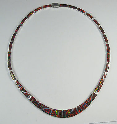 """.950 fine silver green opal necklace long curved centerpiece 17/"""" long"""