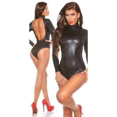 Sexy Latex-Look Body Rückenfrei Wetlook Gogo Clubwear Schwarz #gw539