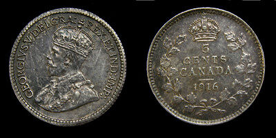 Canada 1916 Silver 5 Five Cents King George V Toned EF-45